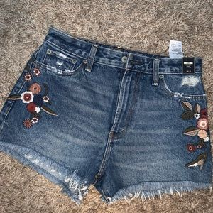 Abercrombie Floral Embroidered Jean Shorts
